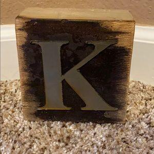 Wooden Block Letter K